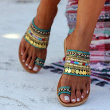 Load image into Gallery viewer, Ethnic boho style toe ring sandals