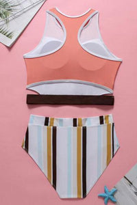 New Color Panel Striped Racerback Cutout Crop Bikini Swimsuit in White.MC