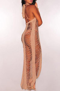 New Distressed Halter Neck Sleeveless Long Beachwear