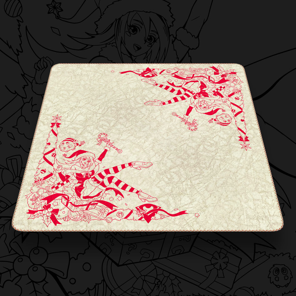 The Holiday Sorceress | Mistletoe Red on Ivory | Odyssey Marble Fabric