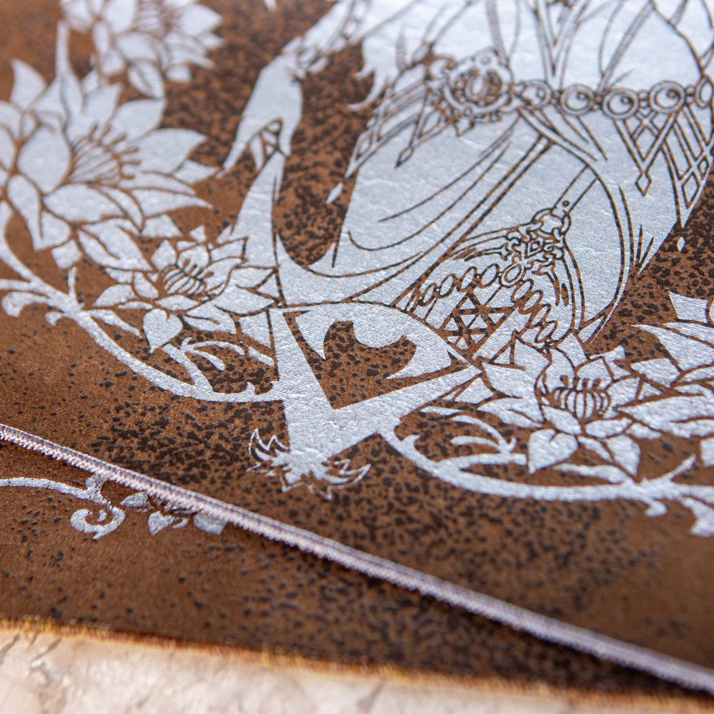 Lady of the Veil | Limited Edition Platinum Foil on Basilisk Skin - Russet Stitching