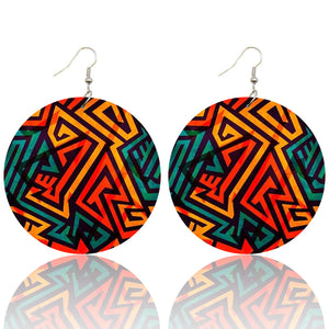 Rouge Jaune tribal shapes| Boucles d'oreilles africaines