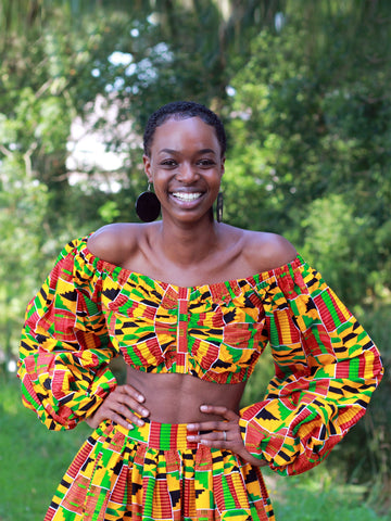 Imprimé africain Kente Orange Crop Top (long sleeves)