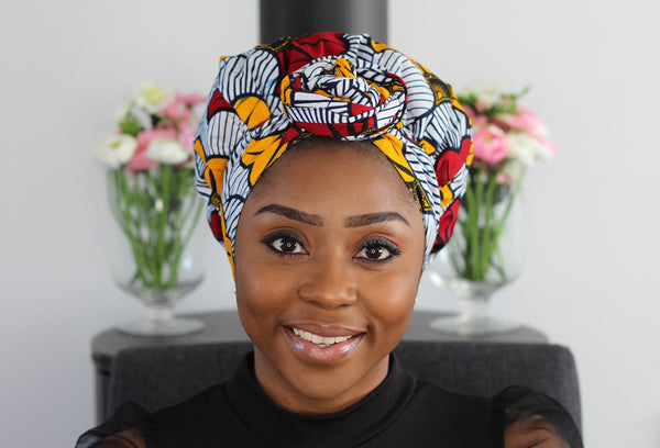 Turban facile - Bonnet en satin - Wedding fleurs (Vlisco)