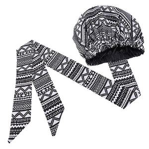 Turban facile - Bonnet en satin - Noir / Blanc tribal