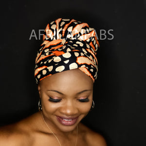Turban facile - Bonnet en satin - Orange Bogolan