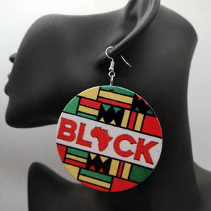 "Boucles d'oreilles africaines | ""Black"" in Pan African colors"