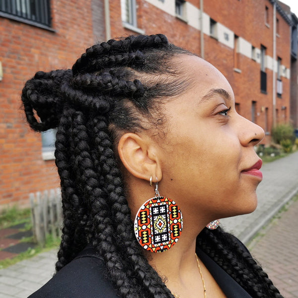Rouge Samakaka print Boucles d'oreilles - African Samacaca drop earrings