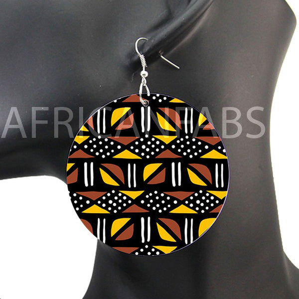 Marron / Jaune mud cloth / bogolan | Boucles d'oreilles africaines