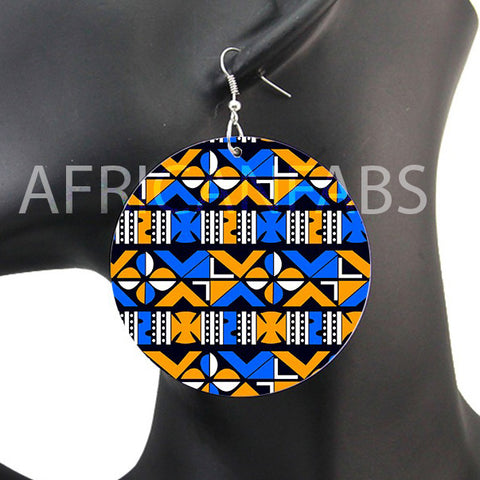 Bleu / Jaune crosses mud cloth / bogolan | Boucles d'oreilles africaines