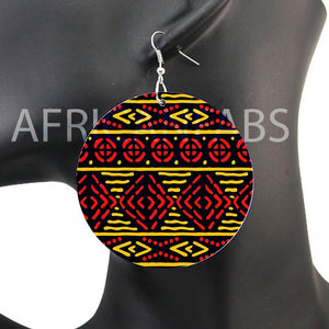 Rouge / Jaune mud cloth / bogolan | Boucles d'oreilles africaines