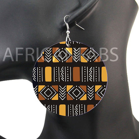 Marron / Beige mud cloth / bogolan | Boucles d'oreilles africaines