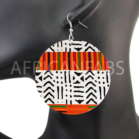 Orange / Blanc / Noir kente / mud cloth / bogolan | Boucles d'oreilles africaines