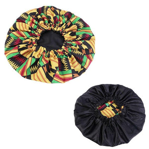 African Noir / Jaune Bonnet Kente imprimé pour les cheveux ( Satin lined  reversable Night sleep cap )