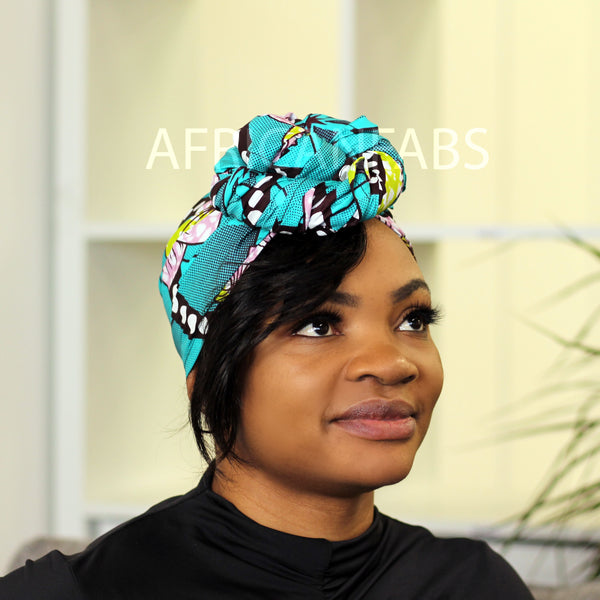 Foulard africain Bleu / orange soleil - turban wax