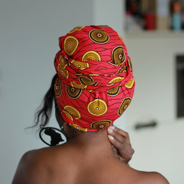 Foulard africain Rose / Jaune mini disk - turban wax