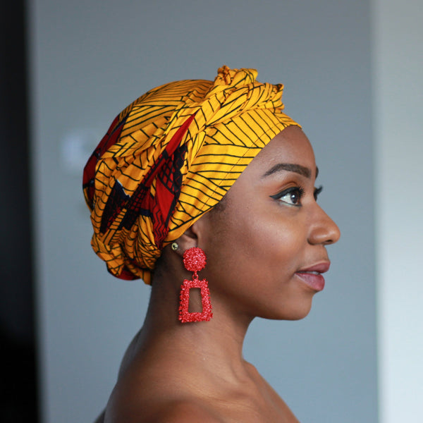 Foulard africain / Turban wax - Jaune / Rouge engine (Vlisco)