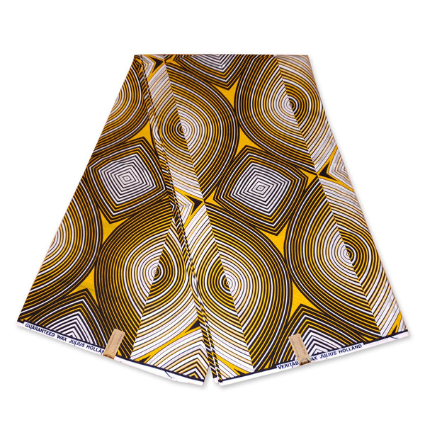 Foulard africain / Turban wax Jaune / Blanc metallic swirl paste fit