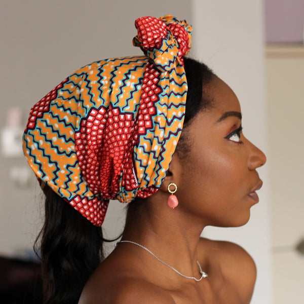 Foulard africain / Turban wax - Honeycomb orange