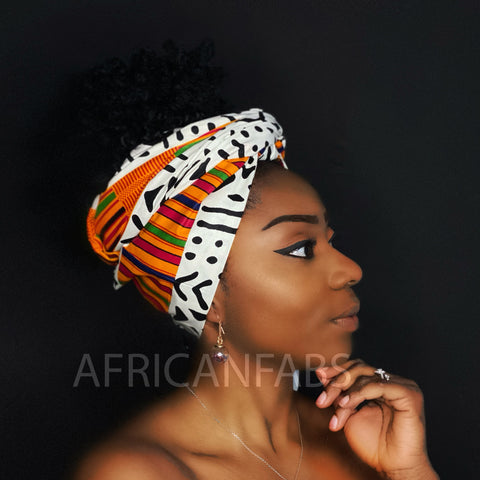 Foulard africain Blanc/ orange bogolan / mud cloth - turban wax