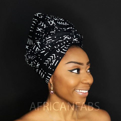 Foulard africain Noir / blanc bogolan / mud cloth - turban wax