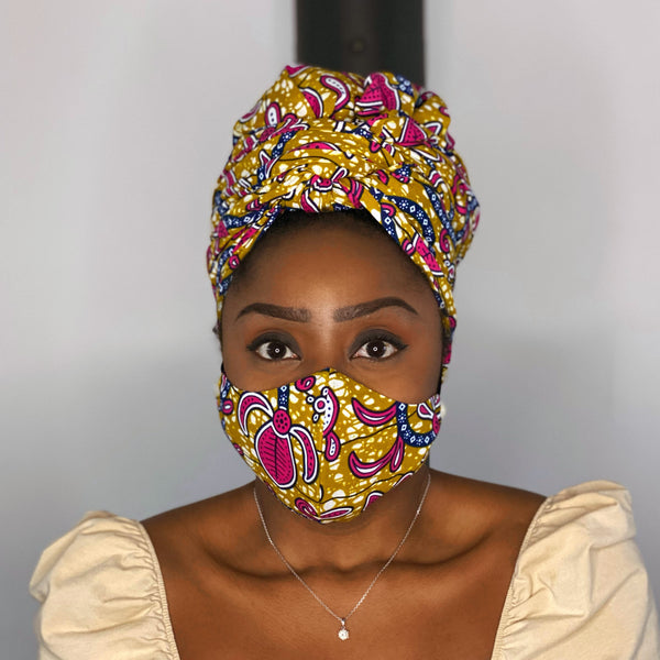 Turban africain + masque facial (Premium set) - Moutarde / Rose