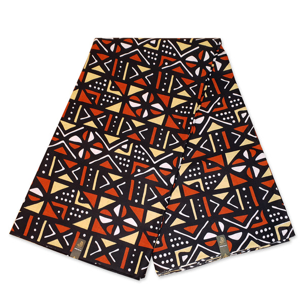 Foulard africain Noir / orange / blanc bogolan / mud cloth - turban wax