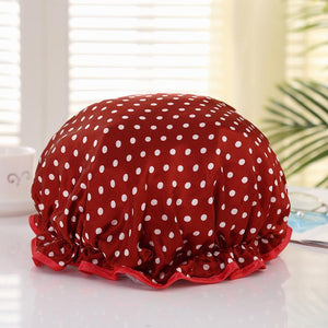 XL Bonnet de douche (réutilisable) - Rouge dots