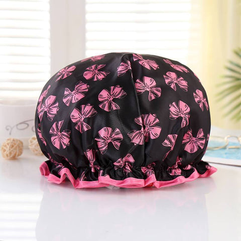 XL Bonnet de douche (réutilisable) - Noir Rose ribbons & Rose edge