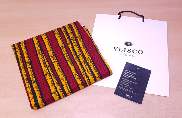 Tissu VLISCO Wax Hollandais - Rouge / Jaune SUGAR CANE PLANT