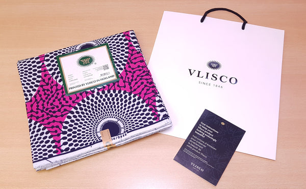 Tissu VLISCO Wax Hollandais - Rose / Blanc Record / Waterwell / Bullseye / Target / Nsu Bura