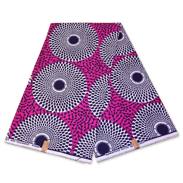 Foulard africain / Turban wax - Rose / Blanc waterwell (Vlisco)