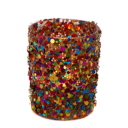 Glass Glitter Tealight Holder