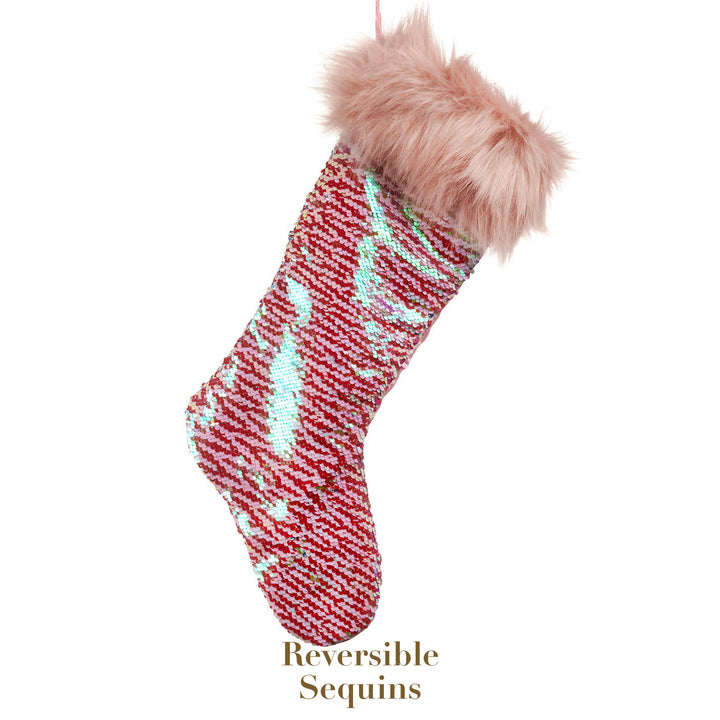 Pink Sequence/Fur Christmas Stocking