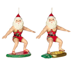 Ceramic Santa Surfing Fruit Decoration