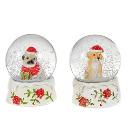 Glass Christmas Dog Snowglobe
