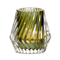 Glass Green Tealight Holder Gold Rim