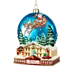 Glass Santa Sleigh Village Scene Decoration