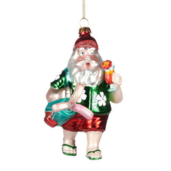 Glass Golf Santa Decoration