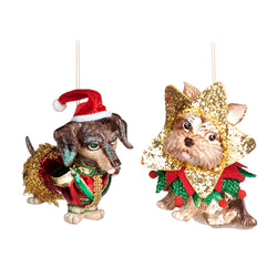 Glass Dog Hat Decorations