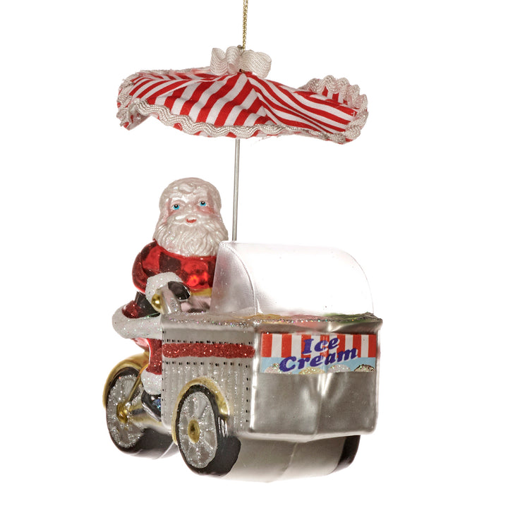 Glass Santa Ice Cream Cart Decoration