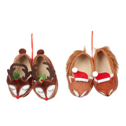 Fabric Reindeer/Fox Slippers Decoration