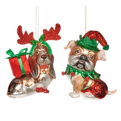 Glass Dog Antlers Santa Hat Decoration