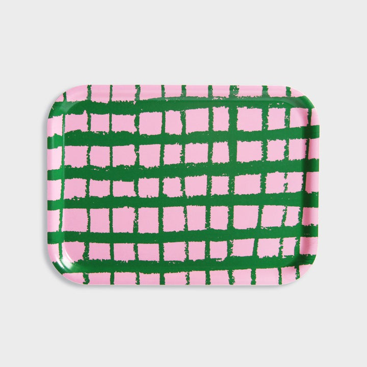 Green Grid Pink Tray