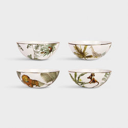 Jungle Porcelain Bowls Set 4