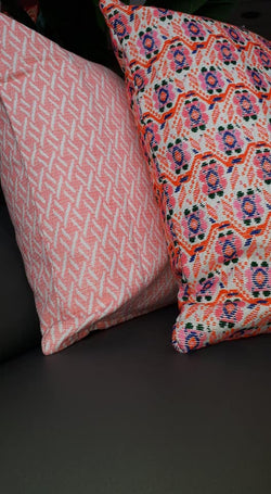 Neon Orange Pattern Cushion