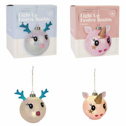 Unicorn/Reindeer Light Up Bauble