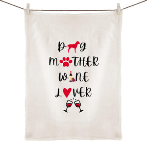 100% Linen Tea Towel - Dog Mother Wine Lover