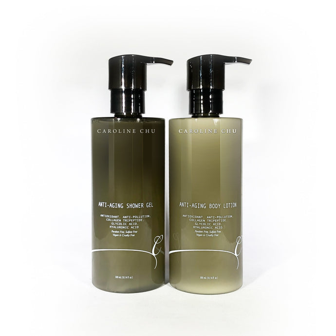 HomeShopHub Gold Tulsi Bodycare Anti-Aging Shower Gel & Body Lotion Duo