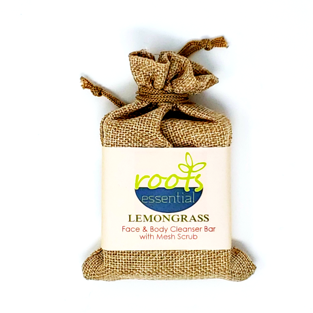 HomeShopHub Red Baobab Bodycare Lemongrass FACE & BODY CLEANSER BAR  (VEGAN) + Mesh Scrub